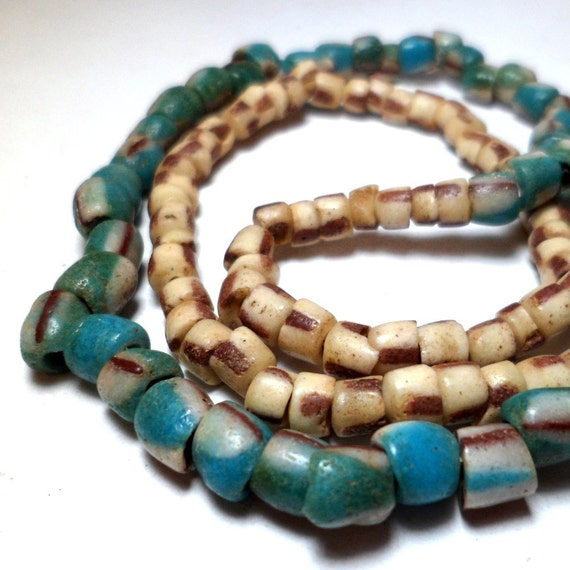 African Trade Beads - Powder Glass Coordinated Beads Teal and Tan (25) LAST ONE