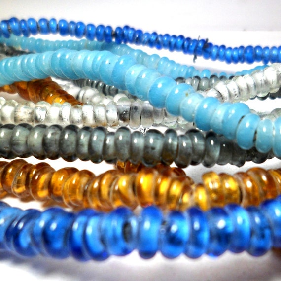 Glass Trade Beads Choose your colors free formed donuts 6mm 50 pieces