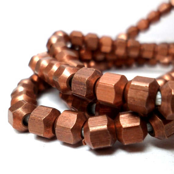 Copper Spacers - Geometric Hexagon Beads  5mm (10)