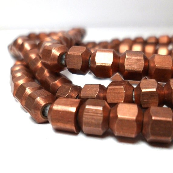 Copper Spacers - Geometric Hexagon Beads  5mm (20)