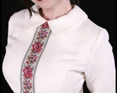 Vintage 60s mod Tapestry Rose Secretary Dress Peter Pan Collar Small