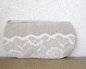 Lacy waves - Linen and Vintage Lace Clutch Purse