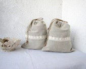 2 Linen and lace Drawstring bags gift bag reusable eco friendly Underwear travel bag