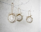 Christmas Ornaments Linen and lace Holiday ornaments shabby chic eco friendly - set of 3