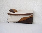 Fold over clutch Canvas and upcycled leather applique OOAK