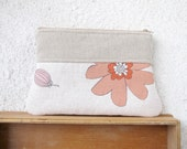 The Big Flowers Clutch, Zipper pouch Cosmetic bag, Diapers case - Linen and Upcycled cotton -Mother's day