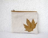 Leather leaf appliquéd Clutch purse cosmetic bag  zipper pouch natural canvas
