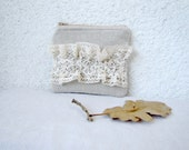 Cute little pouch  - natural linen and vintage lace ruffle
