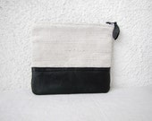 Canvas zipper pouch clutch purse cosmetic bag, upcycled leather bottom - HelloVioleta