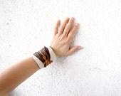Unique Cuff Bracelet - Leather Art on Canvas OOAK