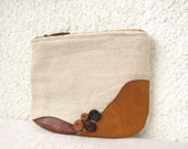 OOAK Leather top appliquéd Clutch purse, cosmetic bag,  zipper pouch, natural linen canvas