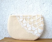 Peachy Linen and  vintage doily small clutch, zipper pouch, cosmetic bag OOAK