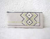 Zipper pouch, small clutch, pencil case  - Vintage Geometric embroidery