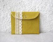 mini snap wallet mustard yellow canvas cotton lace