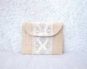 mini wallet vintage lace peach linen