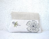 Botanical -  Zipper pouch Cosmetic bag, Clutch purse- Linen and Upcycled cotton