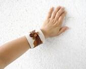 Leather Art on Canvas Unique Cuff Bracelet