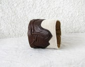 Cuff Bracelet - Leather Art on Canvas, Brown genuine leather