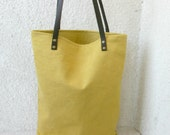 Leather straps bag, Canvas Tote, leather handles, mustard yellow, bucket bag - HelloVioleta
