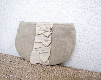 zipper pouch cosmetic bag small clutch pure linen and a lovely ruffle