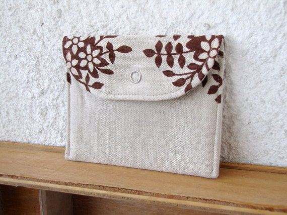 mini wallet Floral printed Linen