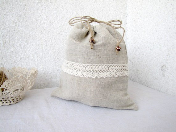 Linen and lace Drawstring bag gift bag reusable eco friendly Underwear travel bag