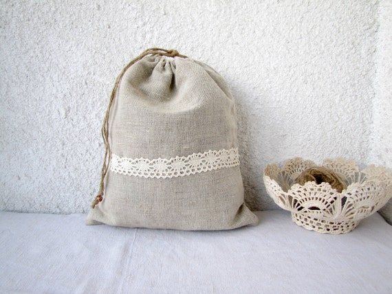Linen and lace Drawstring bag gift bag reusable eco friendly Lingerie travel bag