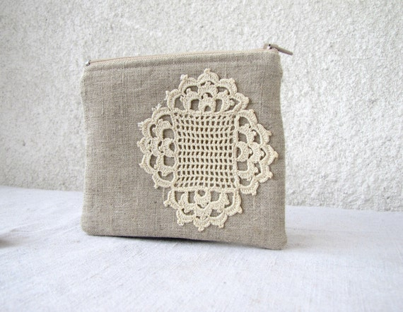 Cute little pouch Black Friday Etsy Cyber Monday Etsy natural linen and vintage doily