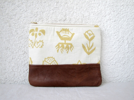 Clutch purse, cosmetic bag, upcycled leather bottom and upcycled cotton fabric