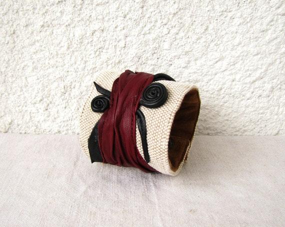 Cuff Bracelet - Leather on Canvas OOAK