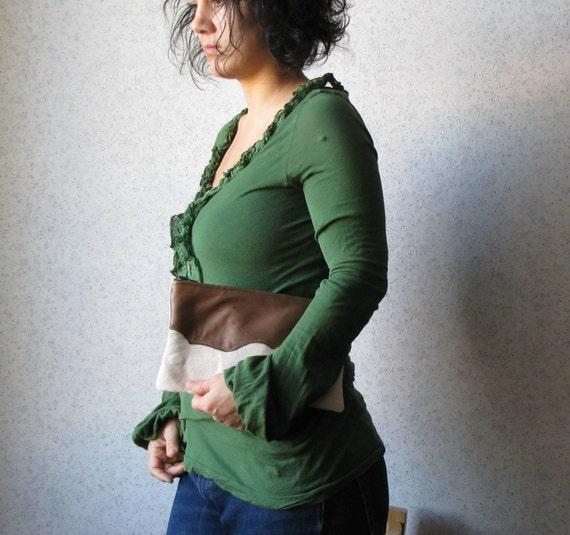 Leather top appliquéd Clutch purse, cosmetic bag,  zipper pouch, natural linen canvas