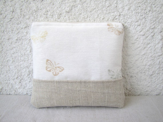 Cute little pouch natural linen and vintage fabric butterflies
