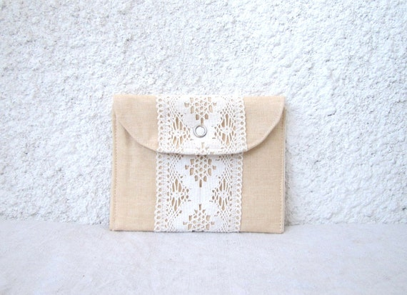 mini wallet vintage lace peach linen