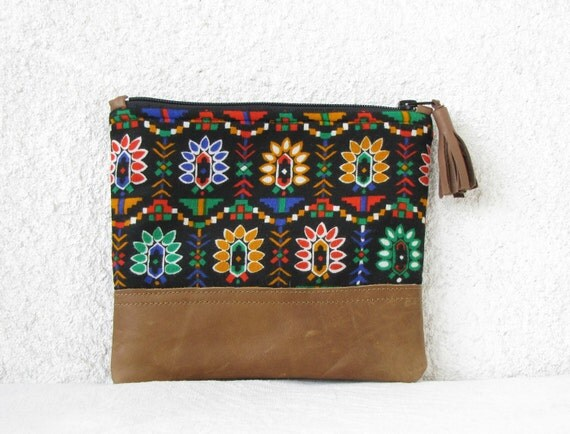 Clutch purse Cosmetic bag vintage cotton Geometry Tribal Southwest