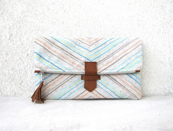 Fold over Clutch Purse - Pastel Chevron - linen and leather - stripes