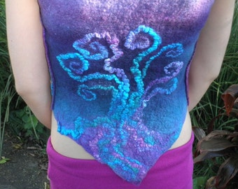 Tree of Life Vest (International Womens Day Celebration Piece) - Wet Felted Vest in Jewel Colours