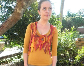 Fire Flames Fairy Vest - Wet Felted Vest in Firey Autumn Colours