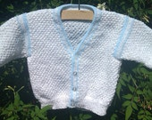 Baby boy infant toddler white and blue trimmed handknitted cotton / acrylic summer vee neck cardigan