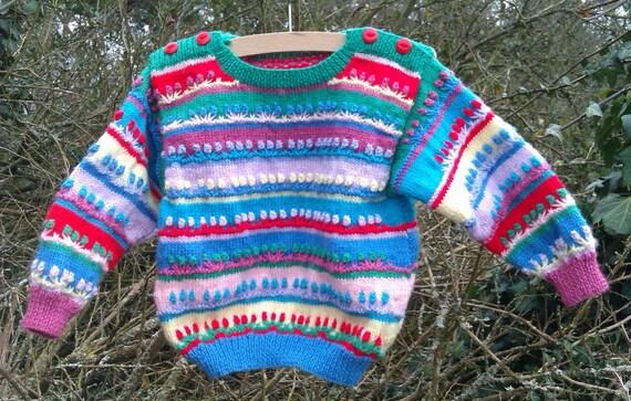 Girl's multi-colour bright jumper