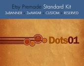 Brown Funky Dots - OOAK Etsy premade shop standard kit - 8 pieces - set03