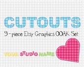 Baby Cutouts - OOAK Etsy premade shop standard kit - 9 pieces