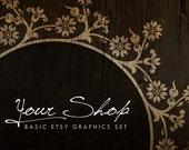 Woodland - OOAK Etsy premade shop basic graphics set - 3 pieces