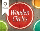 OOAK Etsy shop set of avatars banners and more  - 9 pieces - Wooden Circles