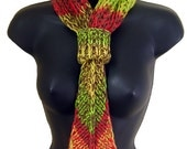 Knit tie scarf, hand knitted melange cotton green yellow red brown ombre chunky scarf, fall colors