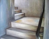Staircase Oil Painting, Original Art in Gray, White, Blue and Black, cityscape, stairwell, steps, urban decay, shabby walls, corners