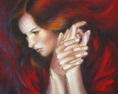 Woman portrait in red tones, original oil painting, woman profile, hands, face, red hair, figurative art