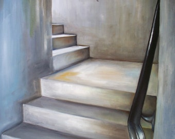 Cityscape art print, urban staircase oil painting reproduction, grey gray wall art