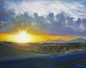 Sunset landscape art print, Arizona highway skyscape oil painting reproduction, sunset wall art