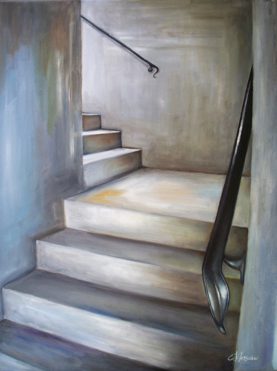 Staircase painting print, fine art print, stairwell, steps, grey, beige, black, blue, cityscape