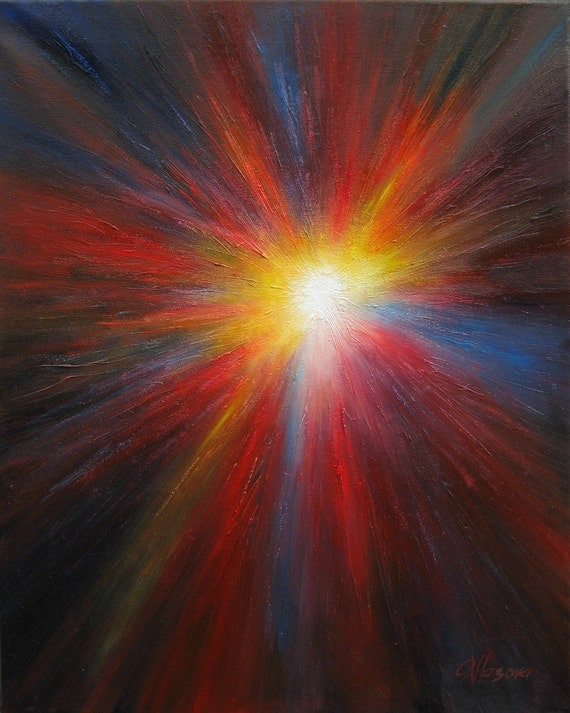 Original abstract painting, black, yellow, red and blue, celestial, star, astral image, oil painting, contemporary art